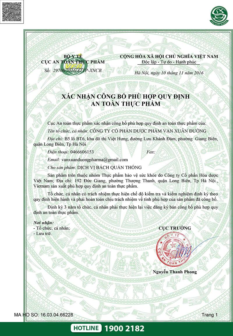 giấy chứng nhận dịch vị bách quản thống