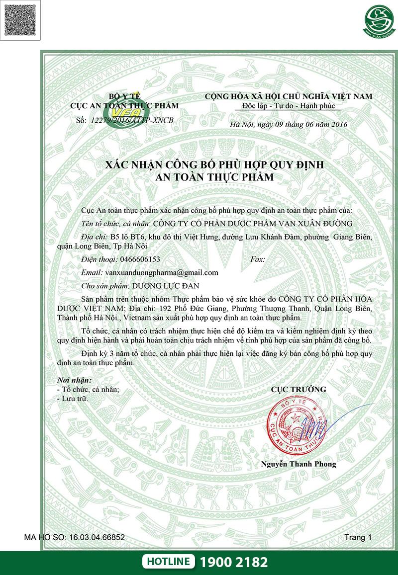 giấy chứng nhận dương lực đan