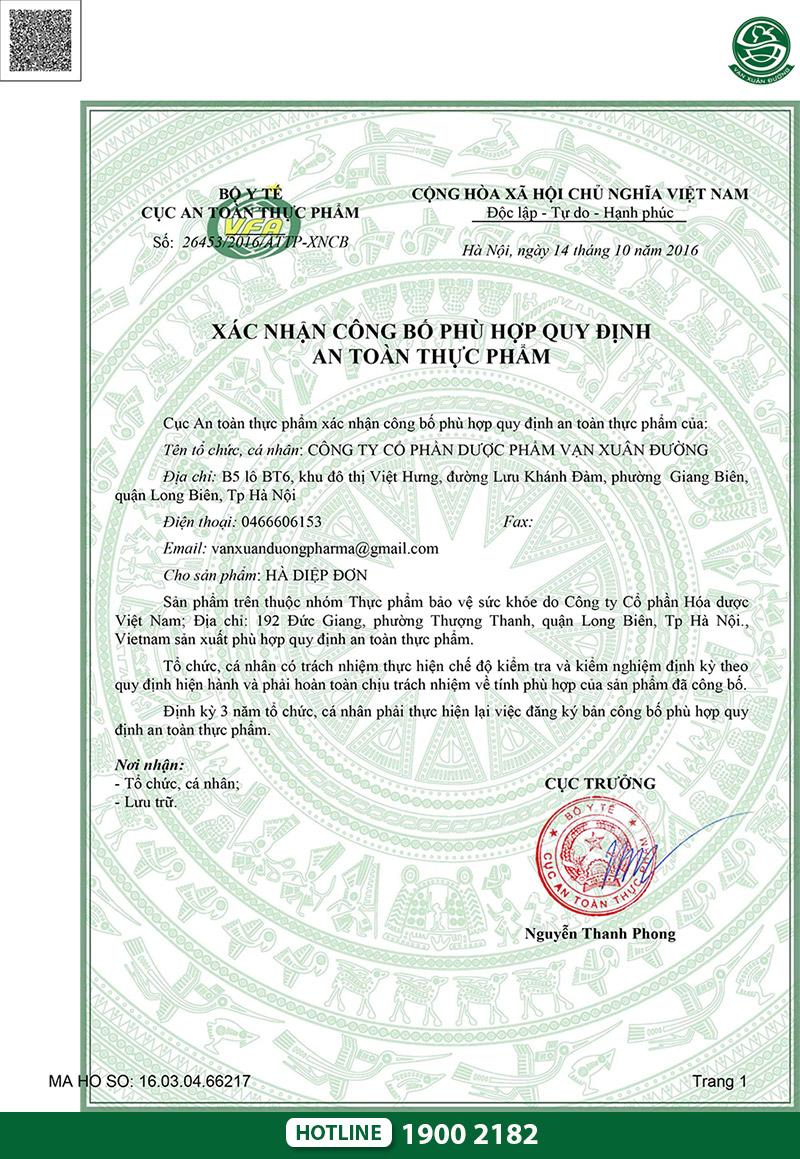 giấy chứng nhận khang nữ hà diệp đơn