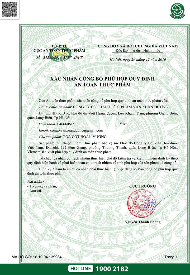 giấy chứng nhận toạ cốt hoàn vương